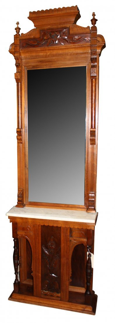 American Victorian pier mirror with marble