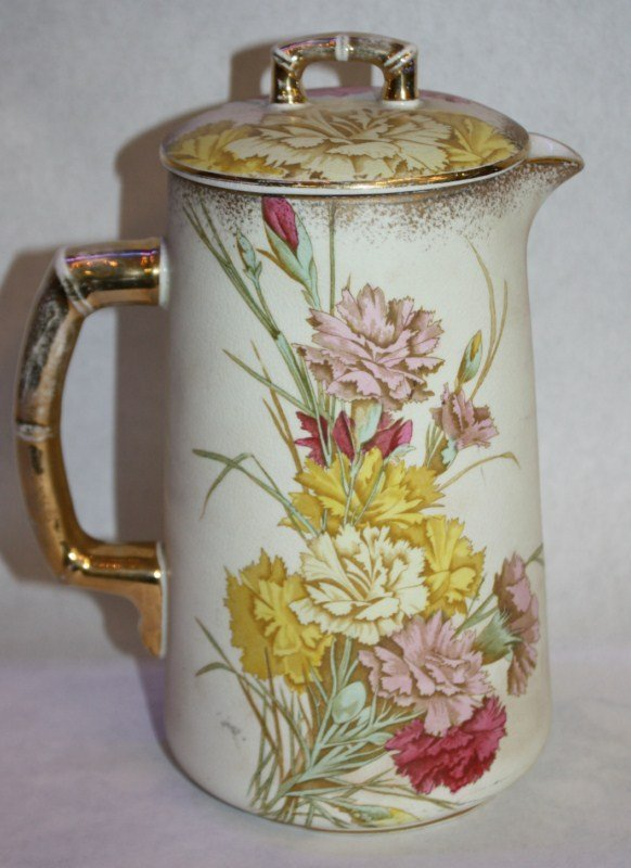 Hand painted porcelain chocolate pot marked B&M