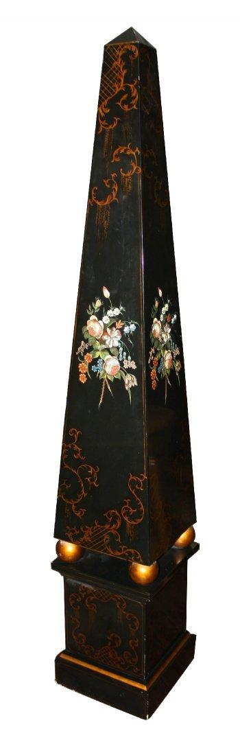 Black lacquer obelisk on stand