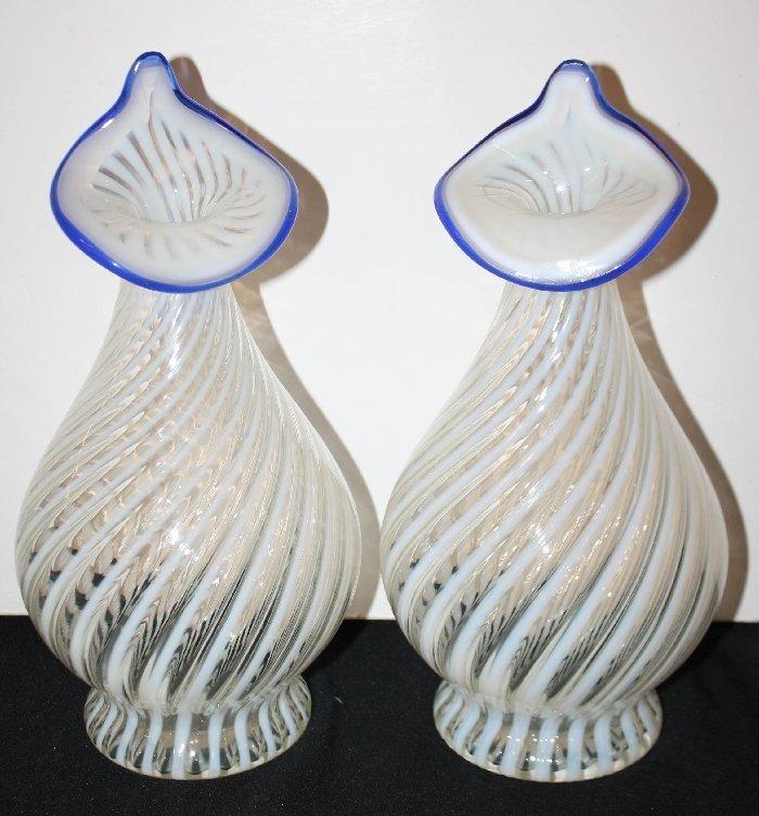 Pair of Murano swirled glass vases