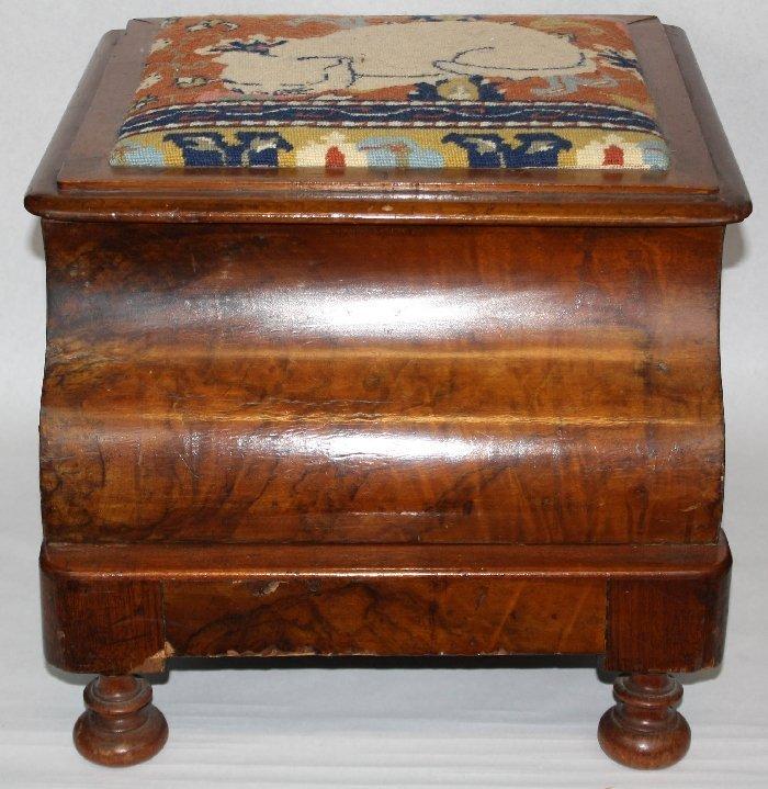 Burled mahogany child's commode
