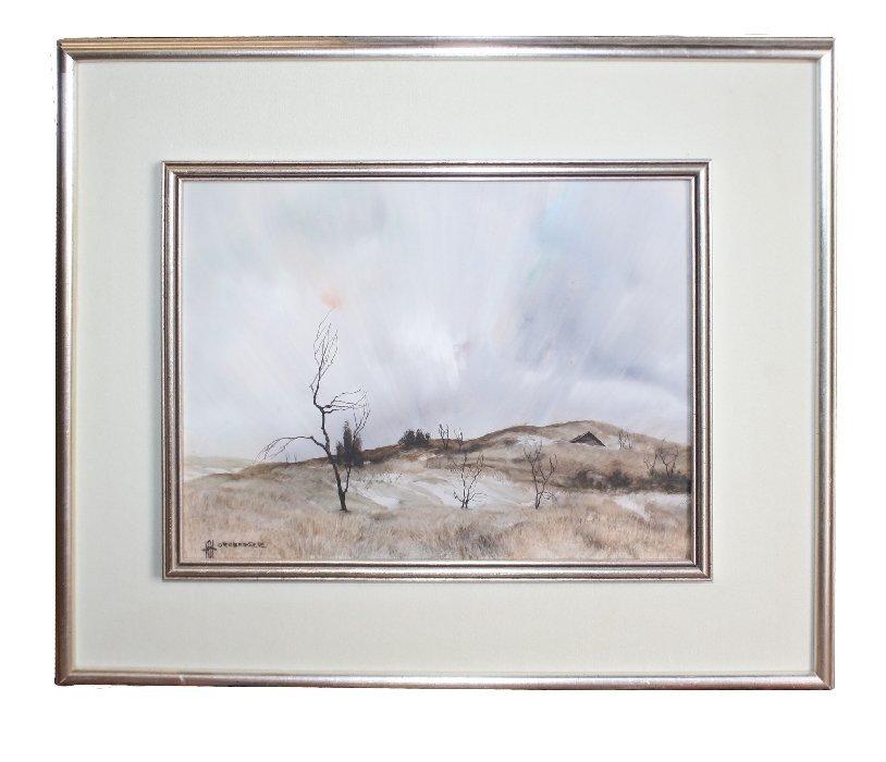 Acrylic on mylar Landscape signed l/l Hornberger