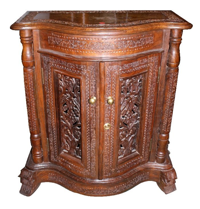 Pair Of Pierce Carved Serpentine Cabinets With Inlaid