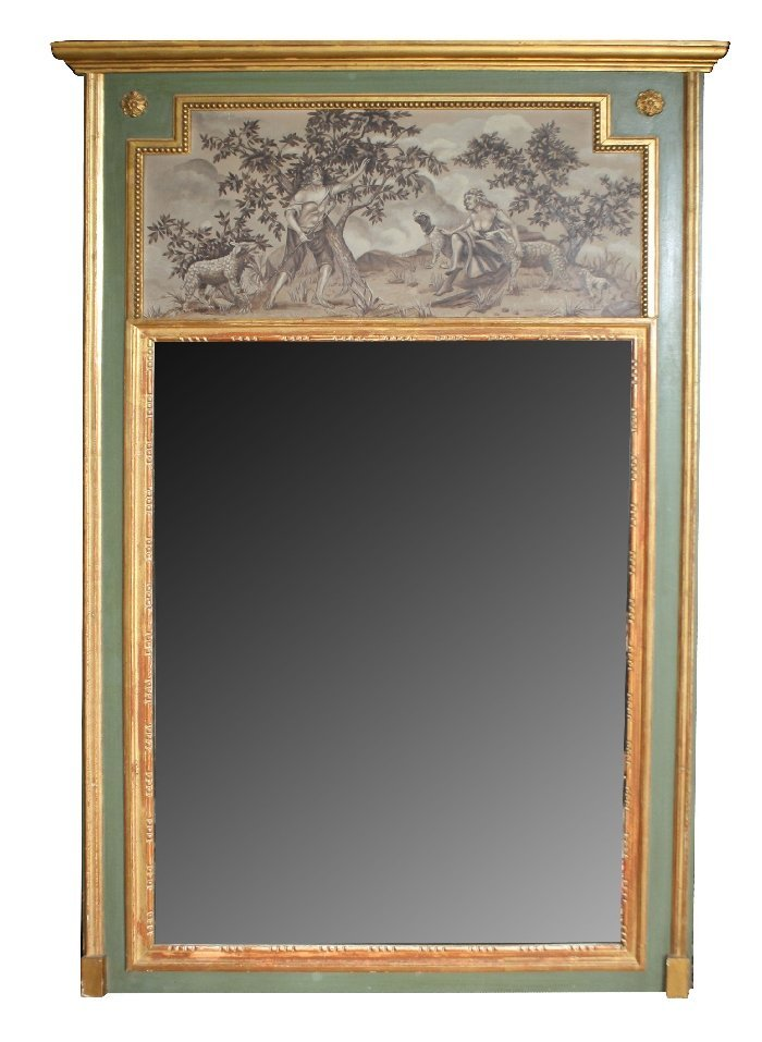 Italian trumeau mirror in painted frame