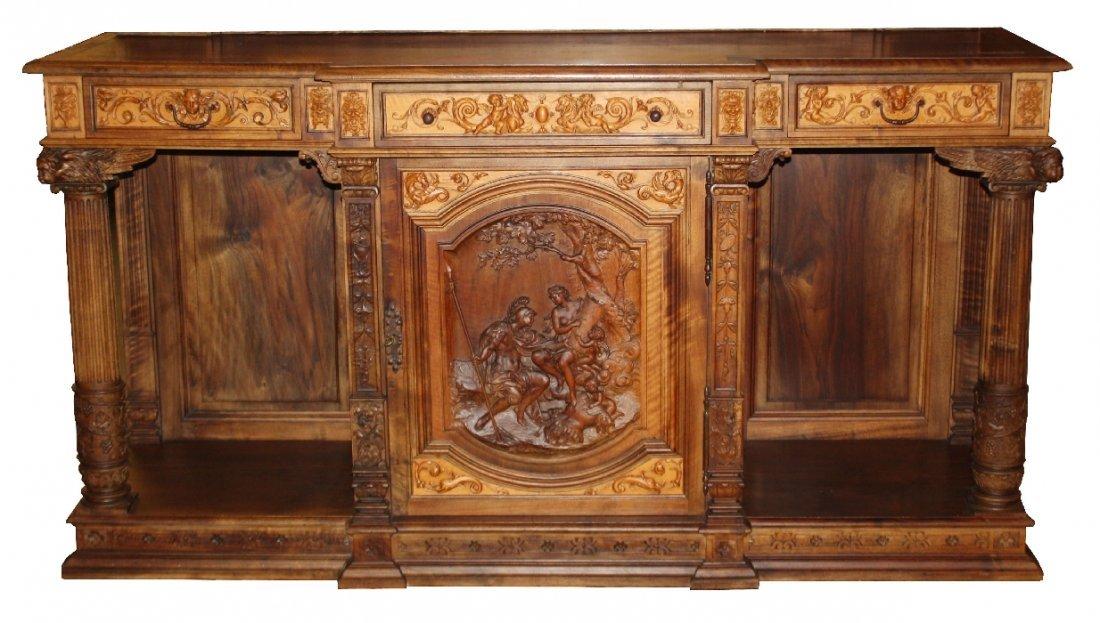 19th century Italian carved walnut sideboard