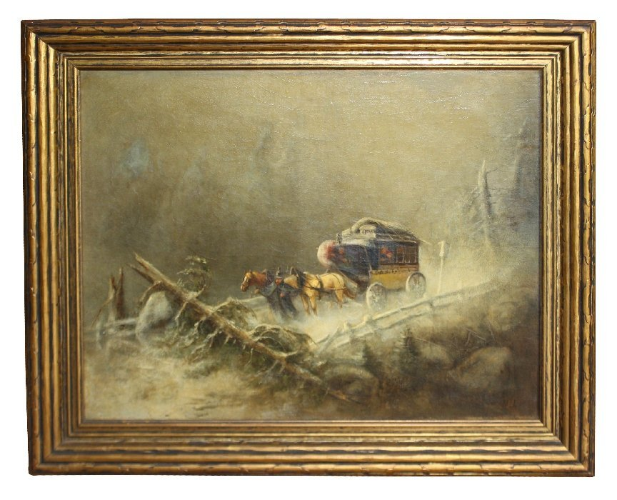 Oil On Canvas-Horse Drawn Carriage In Winter