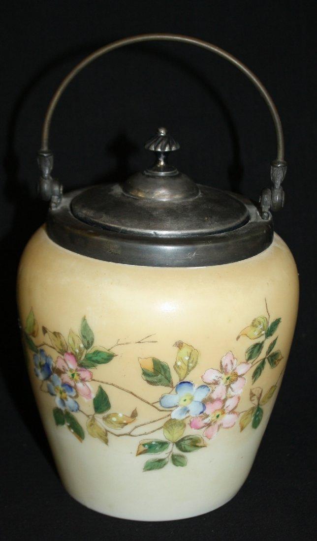 English painted porcelain biscuit barrel