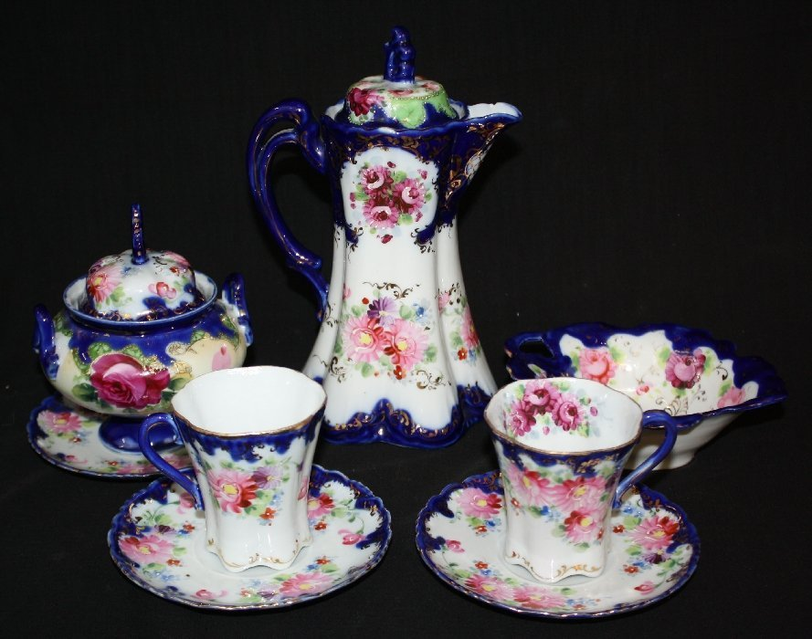 Hand painted porcelain chocolate service