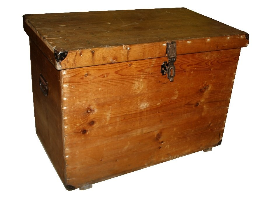 19th century pine trunk with iron handles