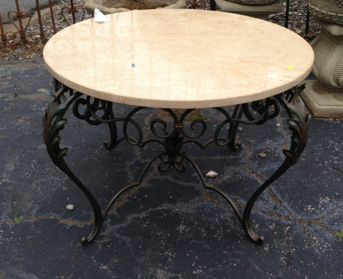 Marble top & iron round coffee table