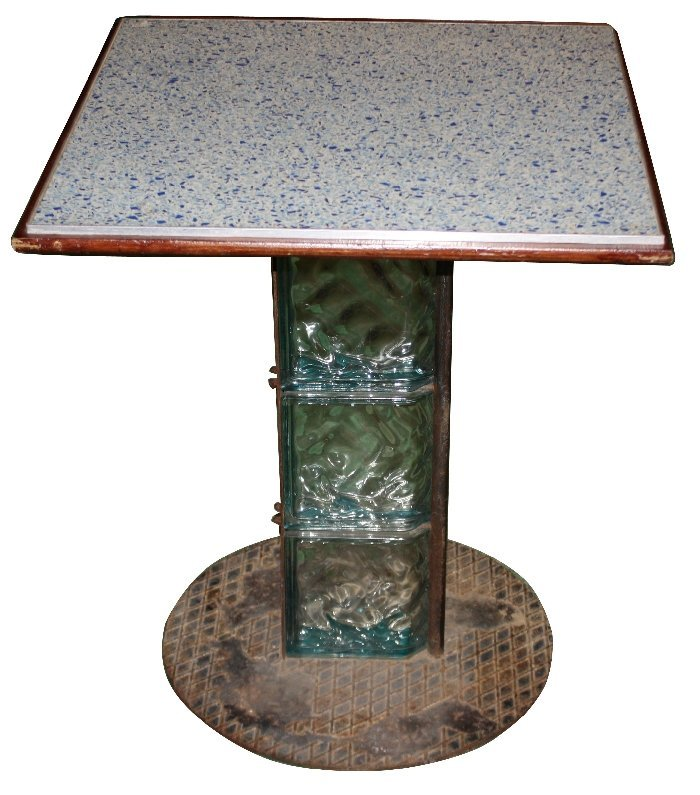 French café table with glass block & iron base