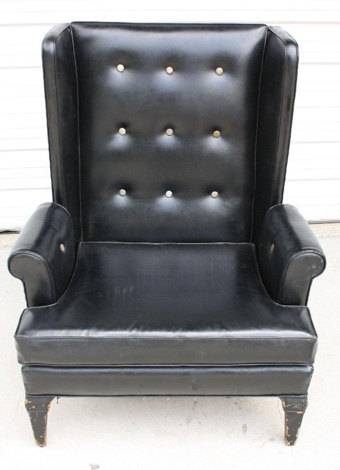 1930's black vinyl upholstered fireside chair