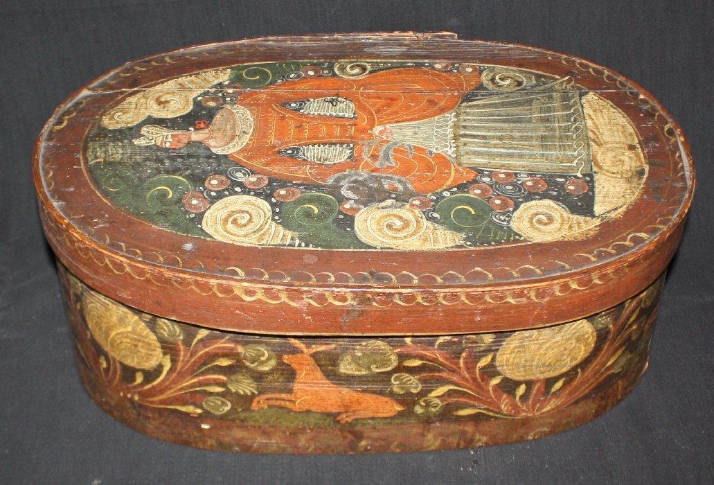 19th c Folk Art painted pine box possibly Dutch