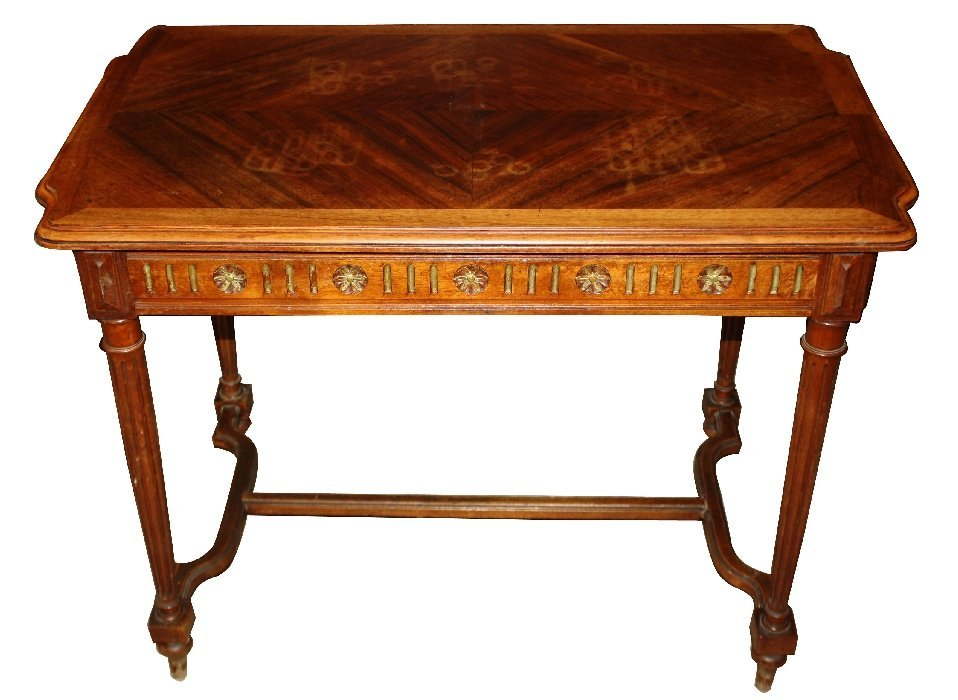 French walnut petit desk with fluted legs