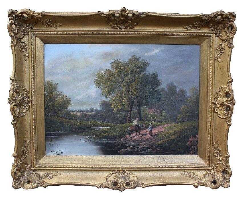 Oil on canvas signed E. Horton (Etty Horton 1882-1905)