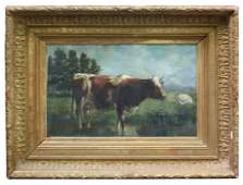 Oil on canvas pastoral landscape with cows signed