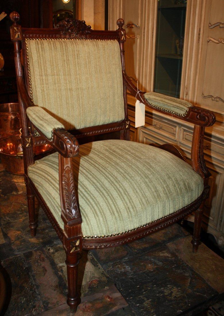 French Louis XVI carved walnut armchair