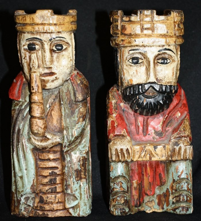 German hand painted & carved King & Queen statues
