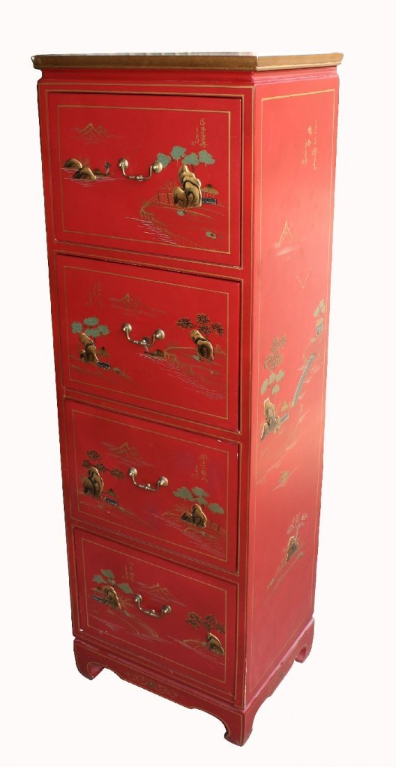 Painted Oriental tall chest with 4 drawers