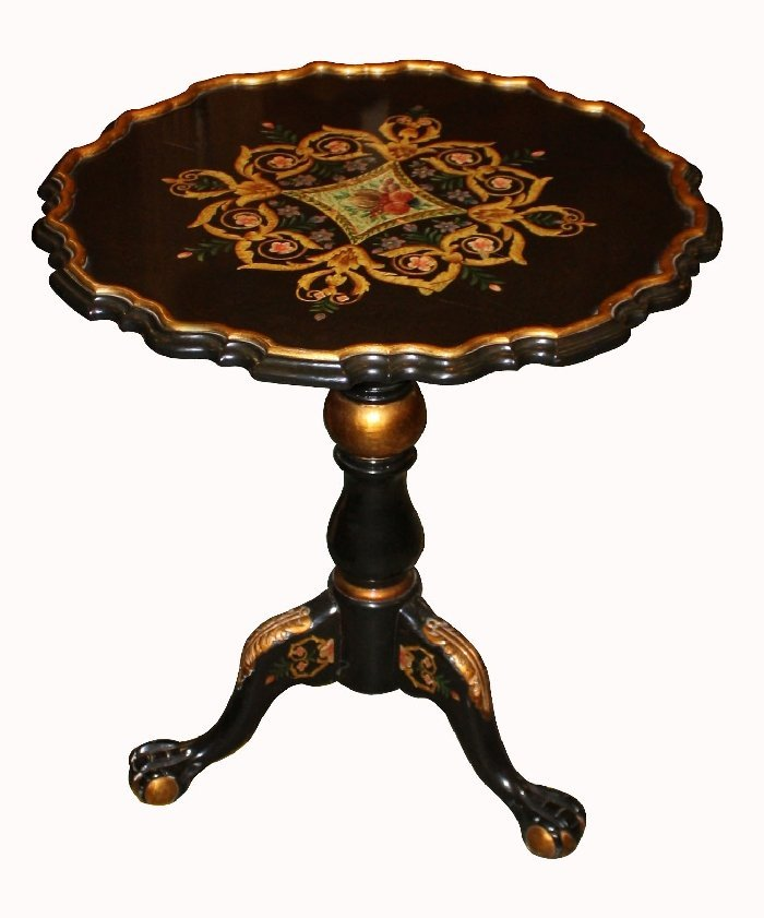 Hand painted tilt top side table on triped base