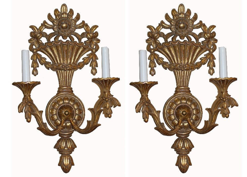 Pair of Italian gilt 2 light sconces with floral urn