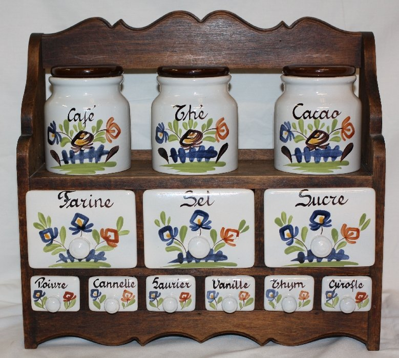 Handpainted ceramic spice jars from France