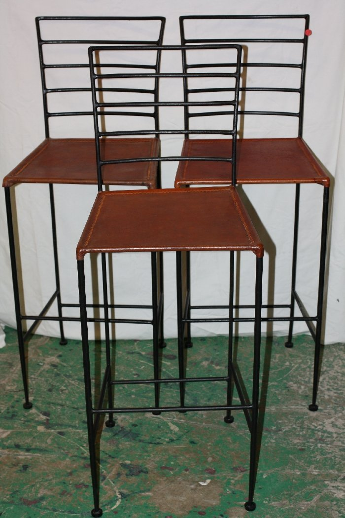 Set of 3 iron and leather barstools