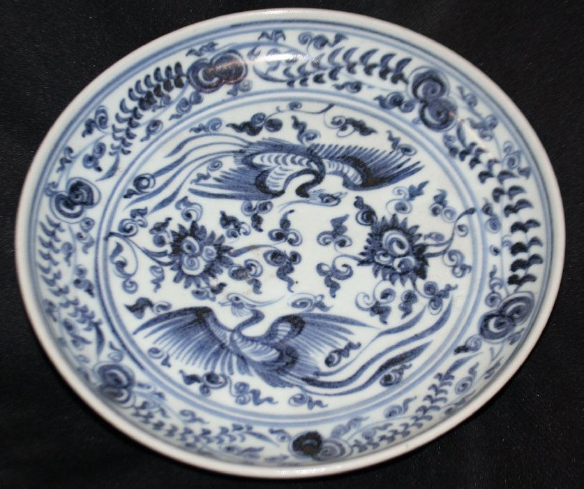 Chinese blue and white plate with 2 birds