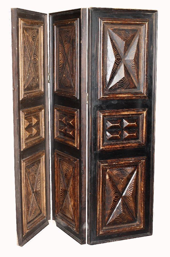 Heavily carved 3 panel wooden room divider