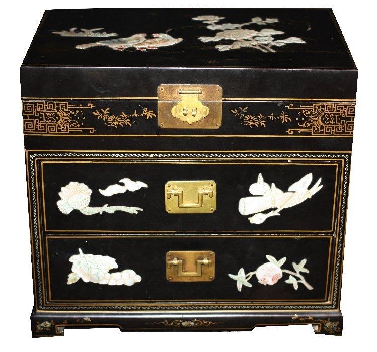 Black lacquered Oriental jewelry box