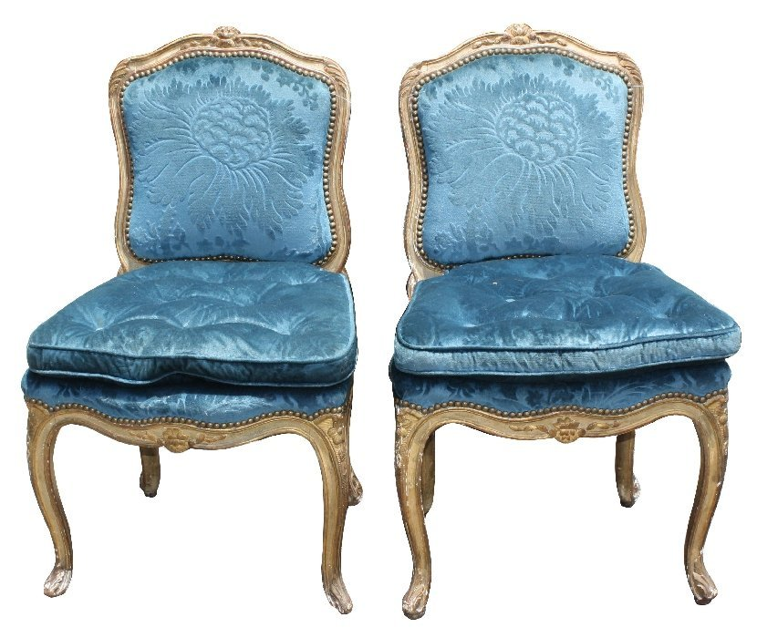 Pair of gilt Louis XV style side chairs with blue