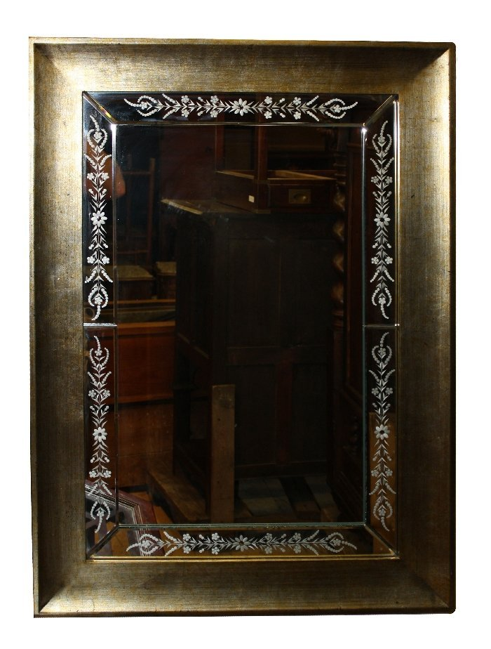 Venetian style mirror with etched floral decoration