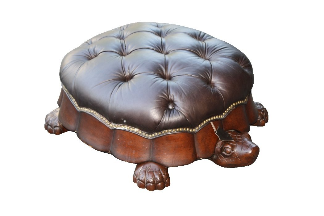 Mahogany And Tufted Leather Turtle Ottoman Lot 0064