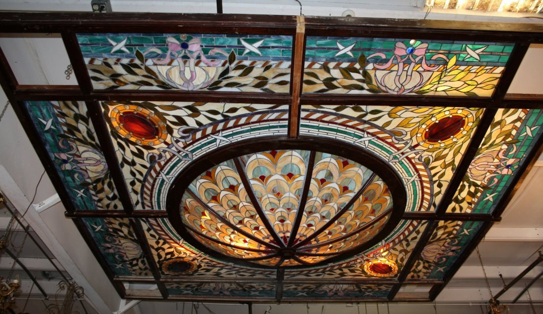 Stained, leaded & jeweled ceiling dome