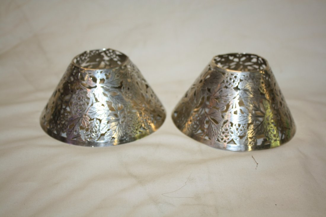 Lot of 2 Tiffany & Co sterling filigree lamp shades