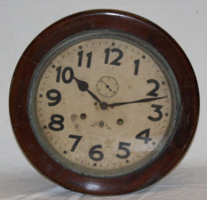 Mejii Clock Company mahogany wall mount round clock