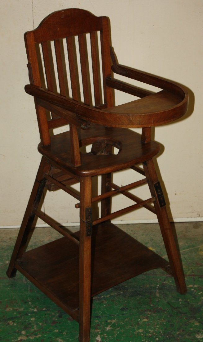 American oak childs high chair