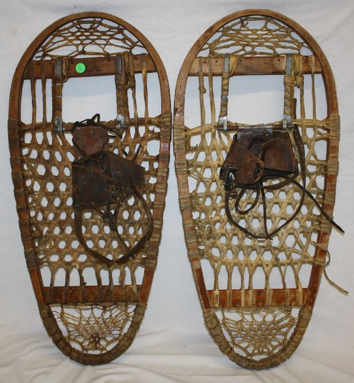 Pair of US C.A Lund Prescott Wis. snowshoes dated 1945