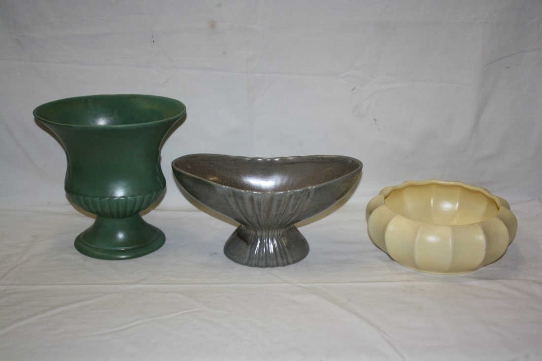 Lot of 3pcs American pottery: Red Wing & Haegar