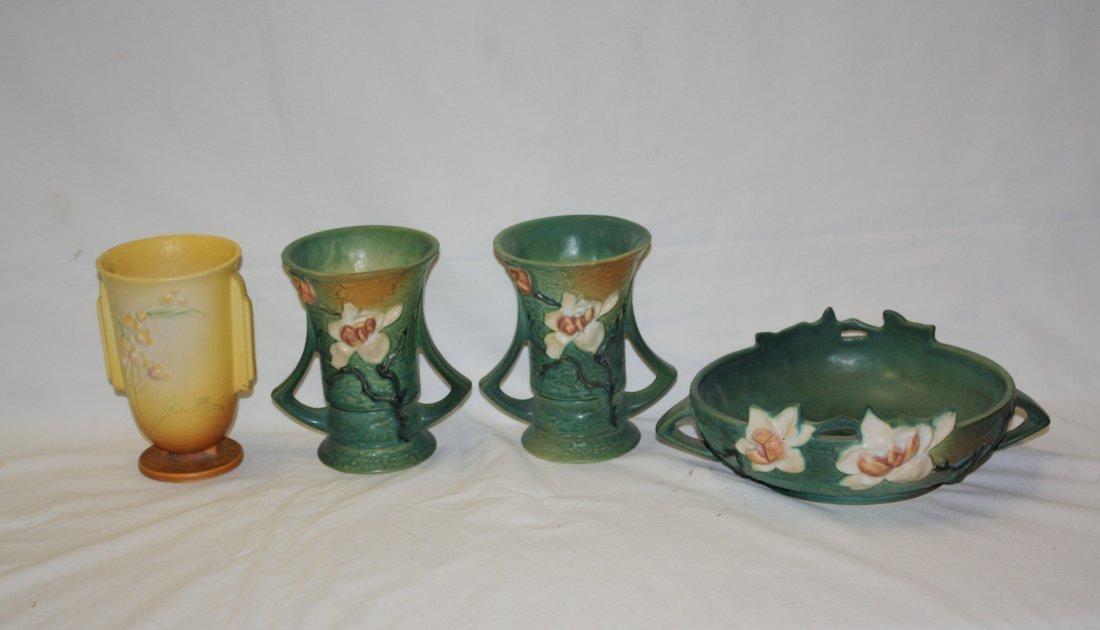 Lot of 4pc Roseville pottery