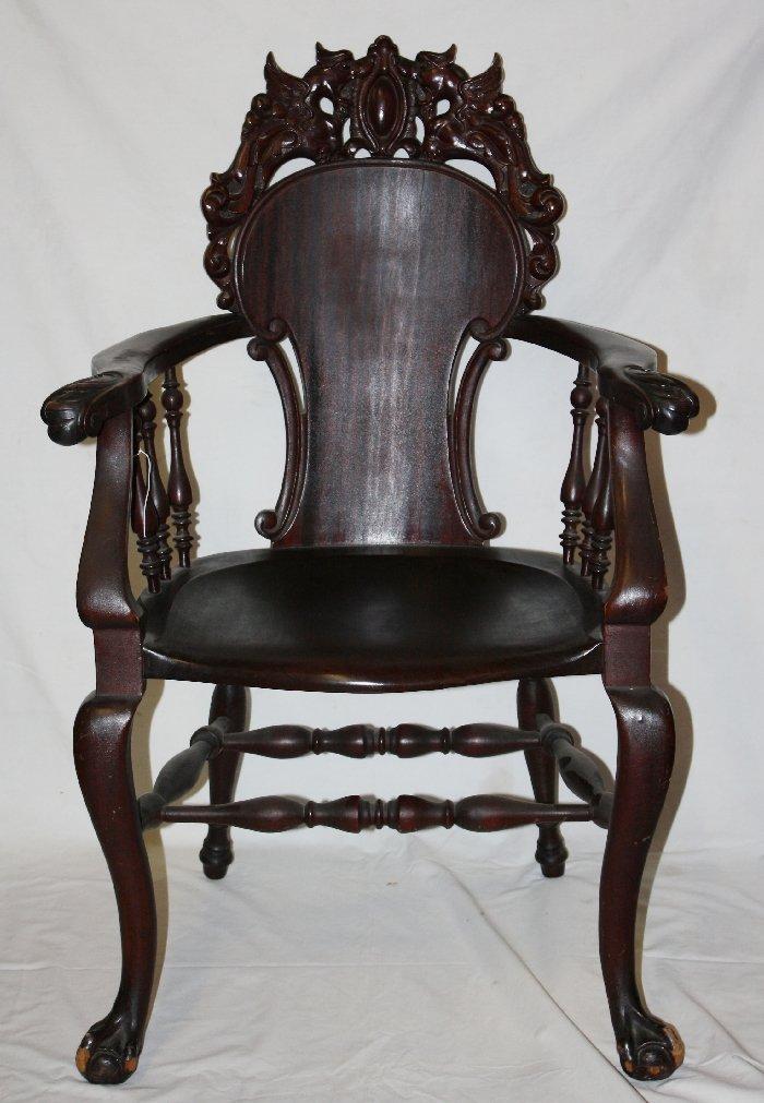 Stickley & Brandt carved mahogany armchair
