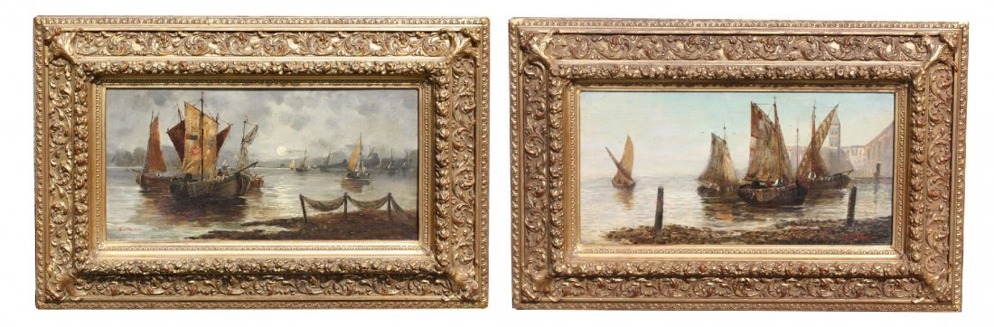 Pair of signed companion seascape oil on canvases