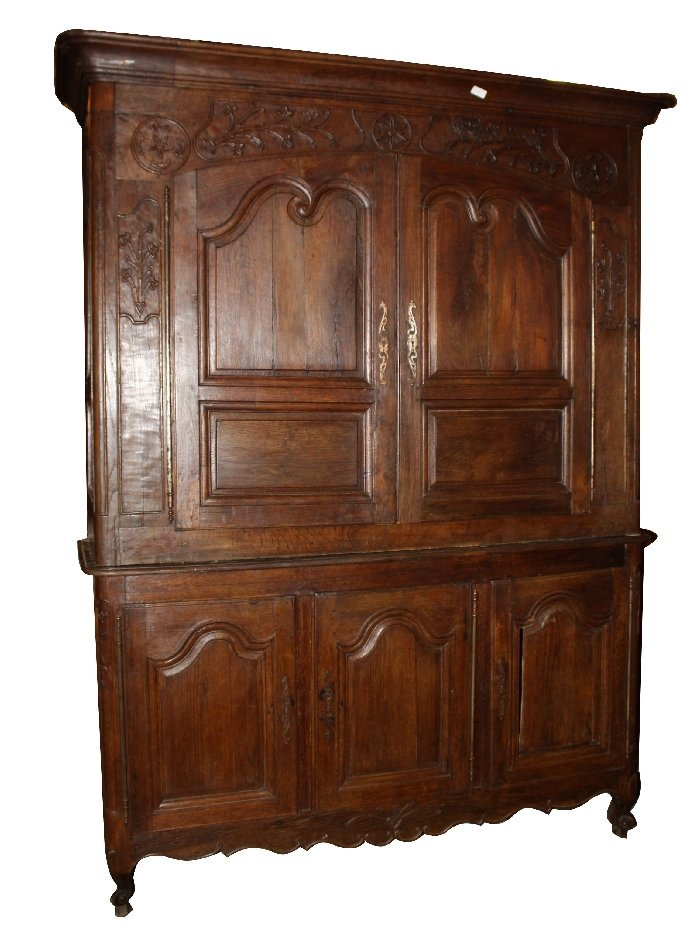 French Provincial buffet deux corps in oak
