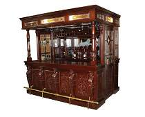 Carved mahogany canopy pub bar with stained glass