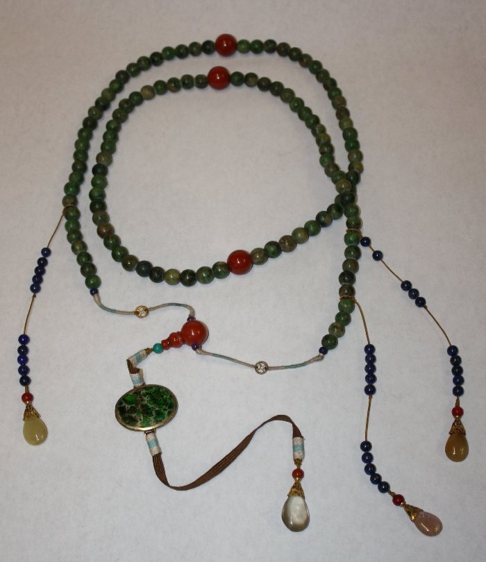 Chinese Qing dynasty ChaoZhu jade court necklace