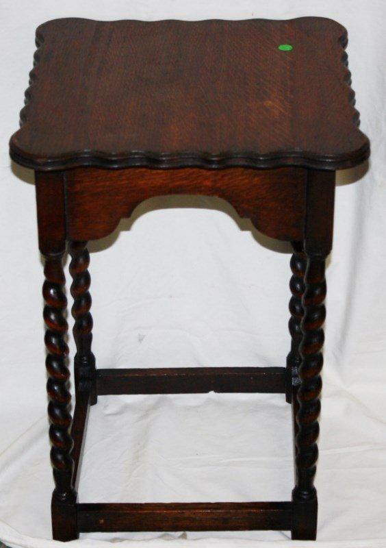 English barley twist legs side table in oak