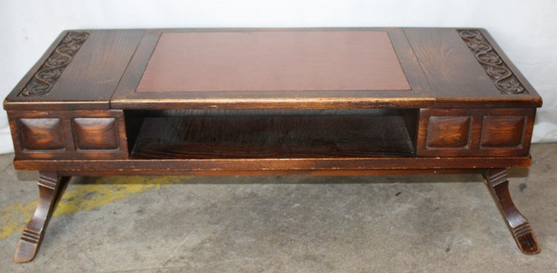 Carved oak lap desk with leather top