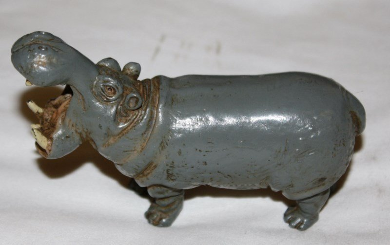 Painted white metal hippo marked Austria