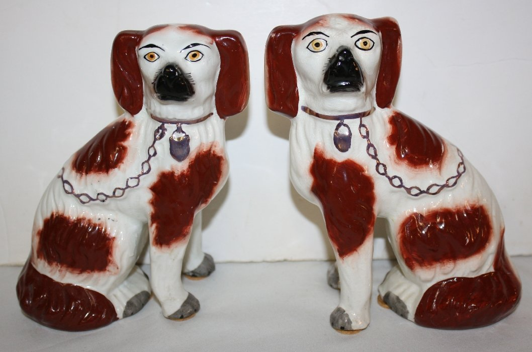 """Pair of 6"""" English Staffordshire dogs"""