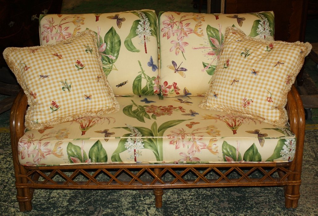 Ficks & Reed upholstered bamboo settee